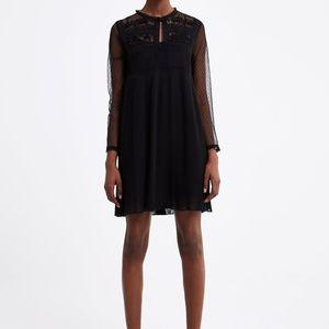 Zara women pleated black dress combined pleated
